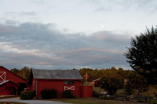 Sunrise Farms Bed & Breakfast Corn Crib Cottage at dawn 10/22/10 - 10/24/10